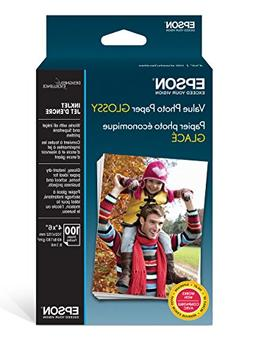 """Epson Value Photo Paper Glossy, 4""""x6"""", 100 Sheets"""